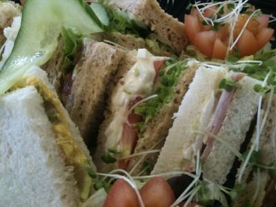 platter of fresh made sandwiches