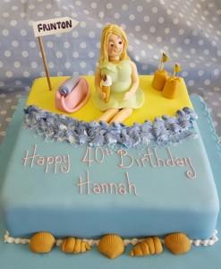 figure on beach cake