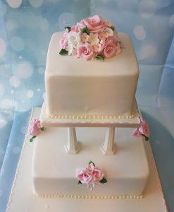 2 tier collum wedding cake