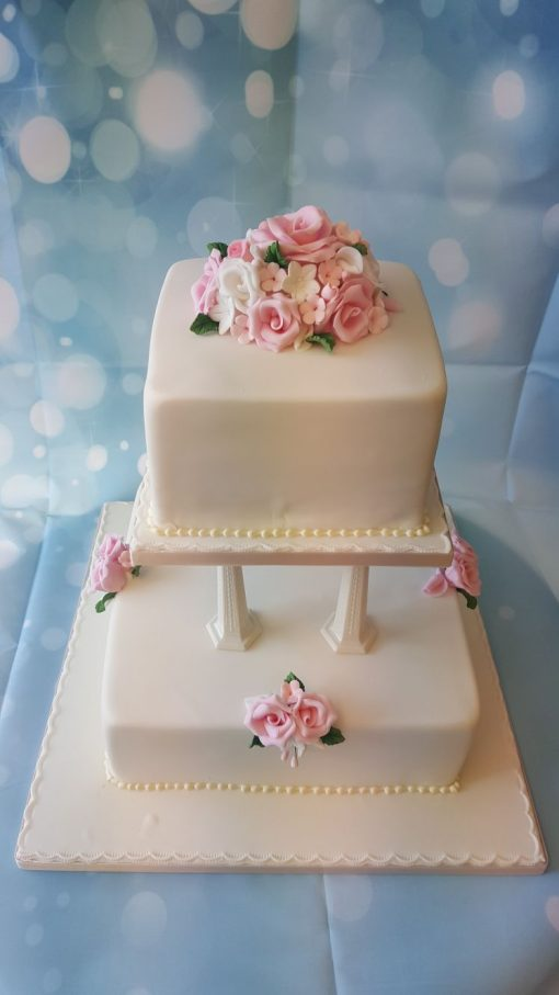 2 tier collum wedding cake