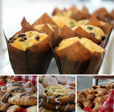 Breakfast pastries and freshly baked Muffins