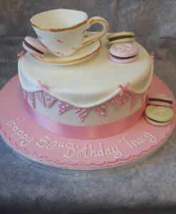 tea cup & macaroon cake (2)