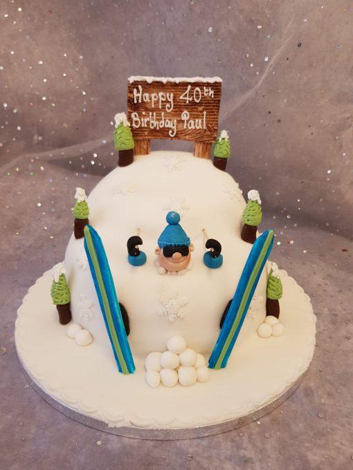 ski theme cake