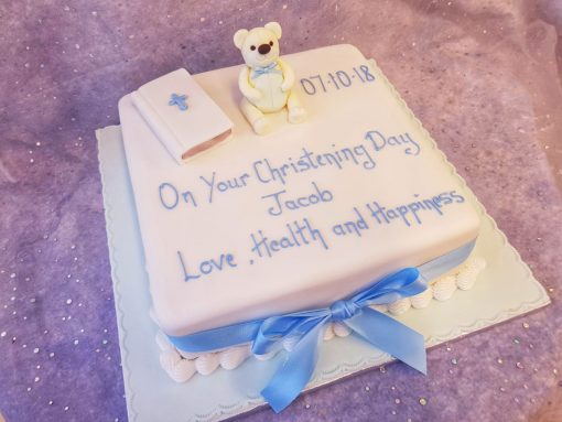 christening cake- book & bear