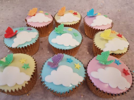 fondant cupcakes butterflys clouds