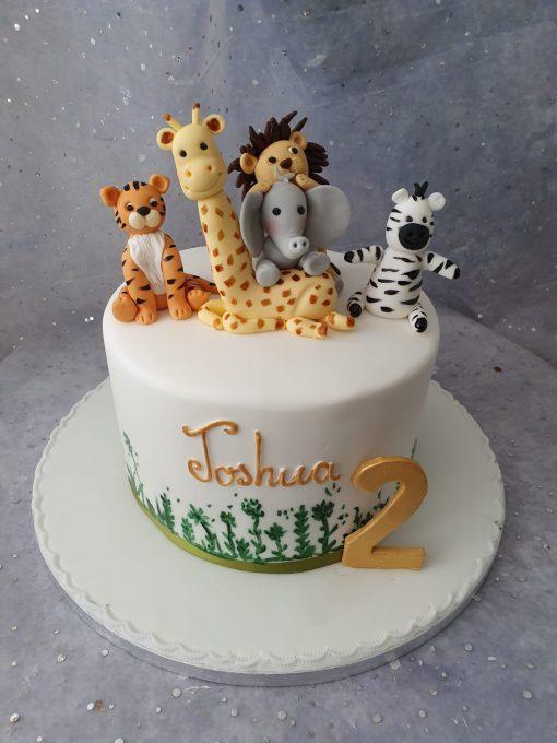 jungle animal theme cake