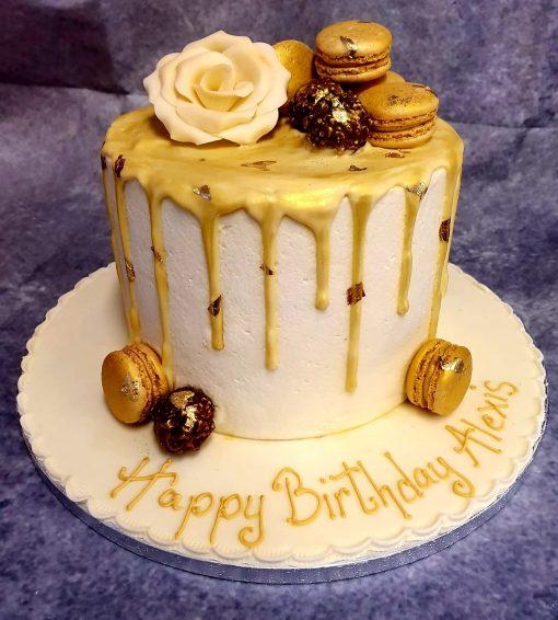 gold drip macaroon cake