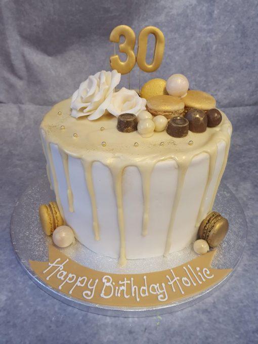 gold 30 drip cake
