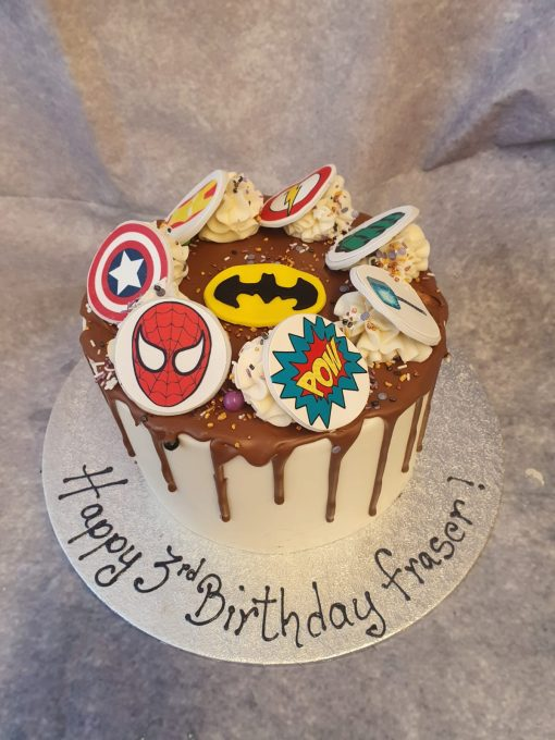 marvel theme drip cake