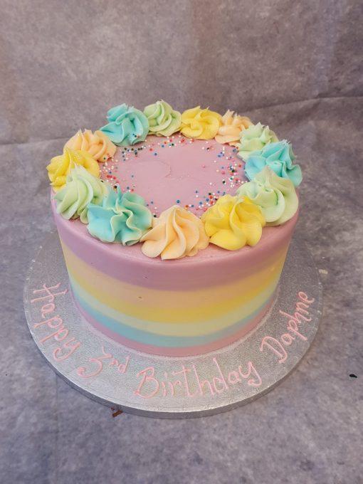 buttericed rainbow cake