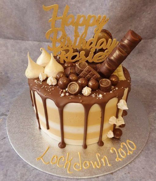 gold drip cake topper