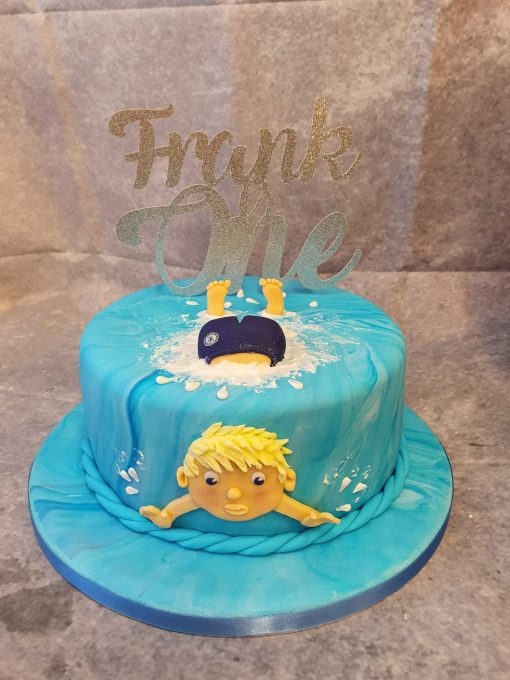 swimming theme cake